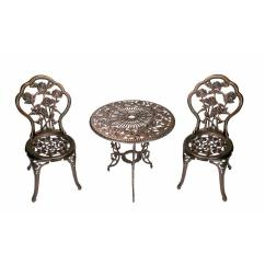 Antique Cast Iron Garden Table And Chairs Office Chair For Sale Oakland Living Rose 3 Piece Patio Bistro Set 3705 Ab The