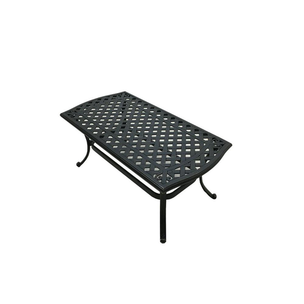 Hampton Bay Belcourt Metal Rectangle Outdoor Coffee Table