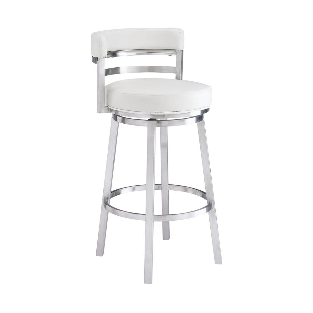 Armen Living Madrid Contemporary 30 In Bar Height Bar Stool In Brushed Stainless Steel And White Faux Leather Lcmababswh30 The Home Depot