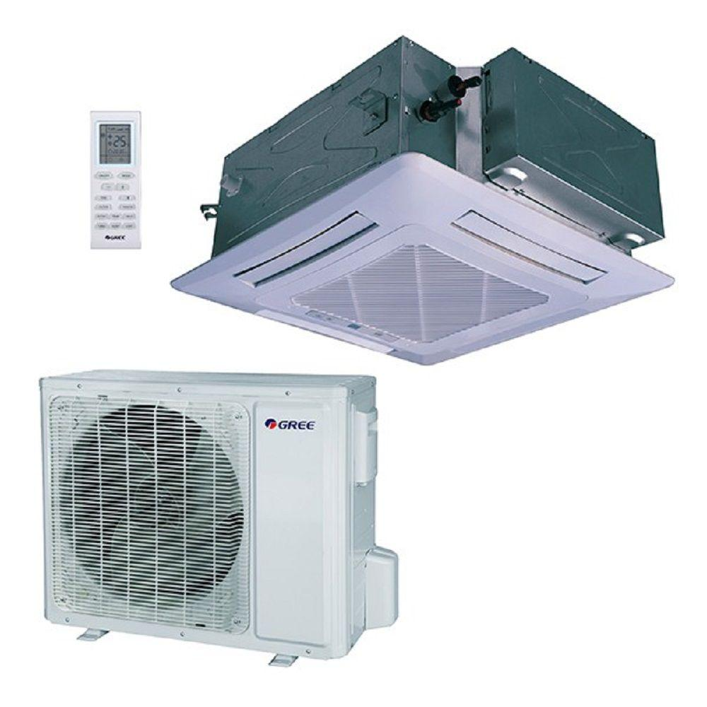 hight resolution of 48 000 btu 4 ton ductless ceiling cassette mini split air conditioner with heat inverter remote 230v 60hz