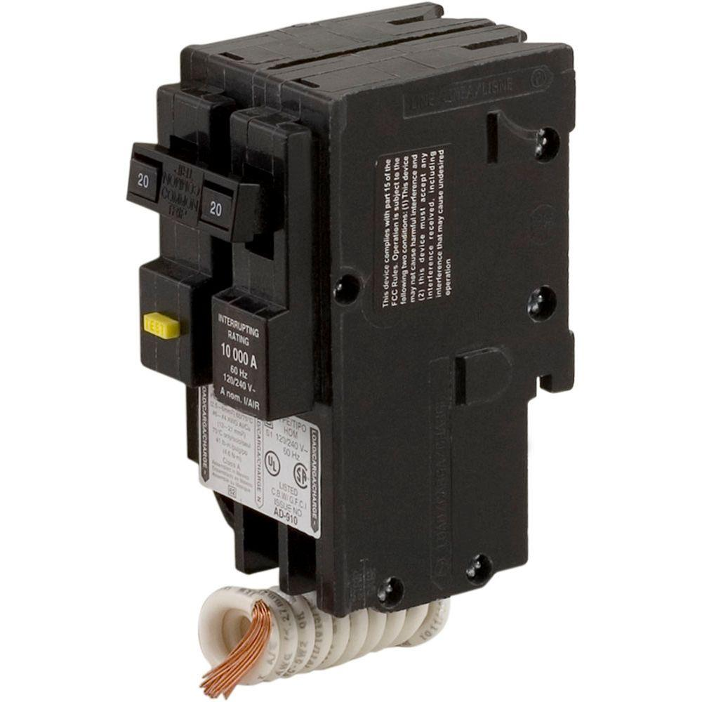 hight resolution of square d homeline 20 amp 2 pole gfci circuit breaker hom220gfic the home depot