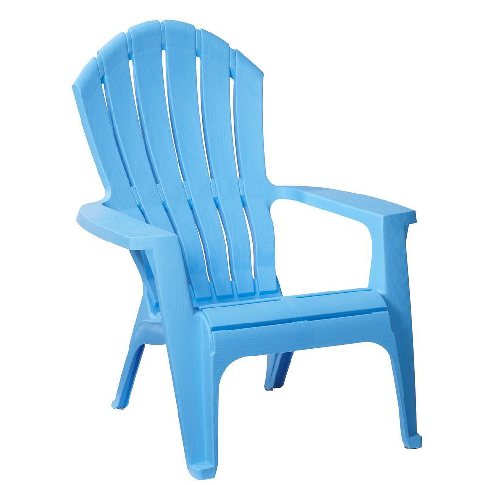 RealComfort Periwinkle Plastic Outdoor Adirondack Chair