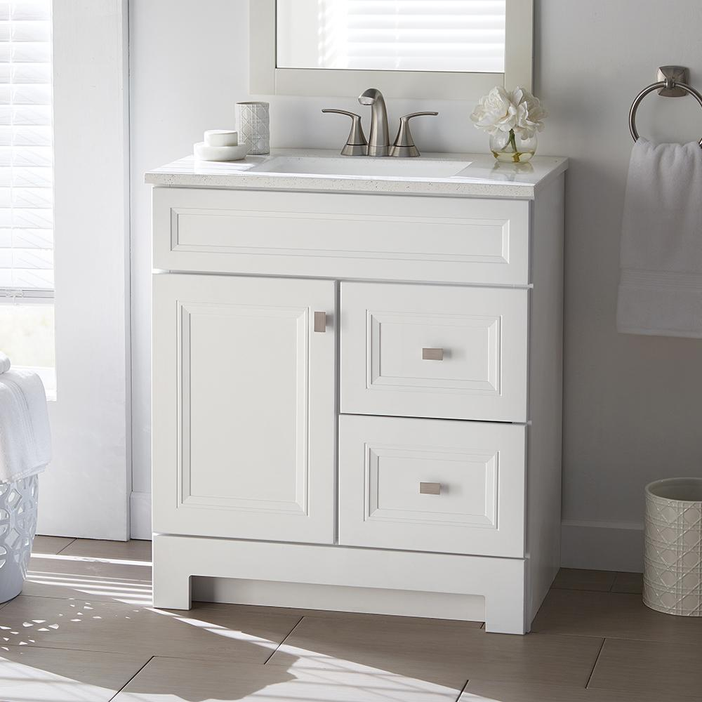 Home Decorators Collection Sedgewood 3012 in W Bath Vanity in White with Solid Surface