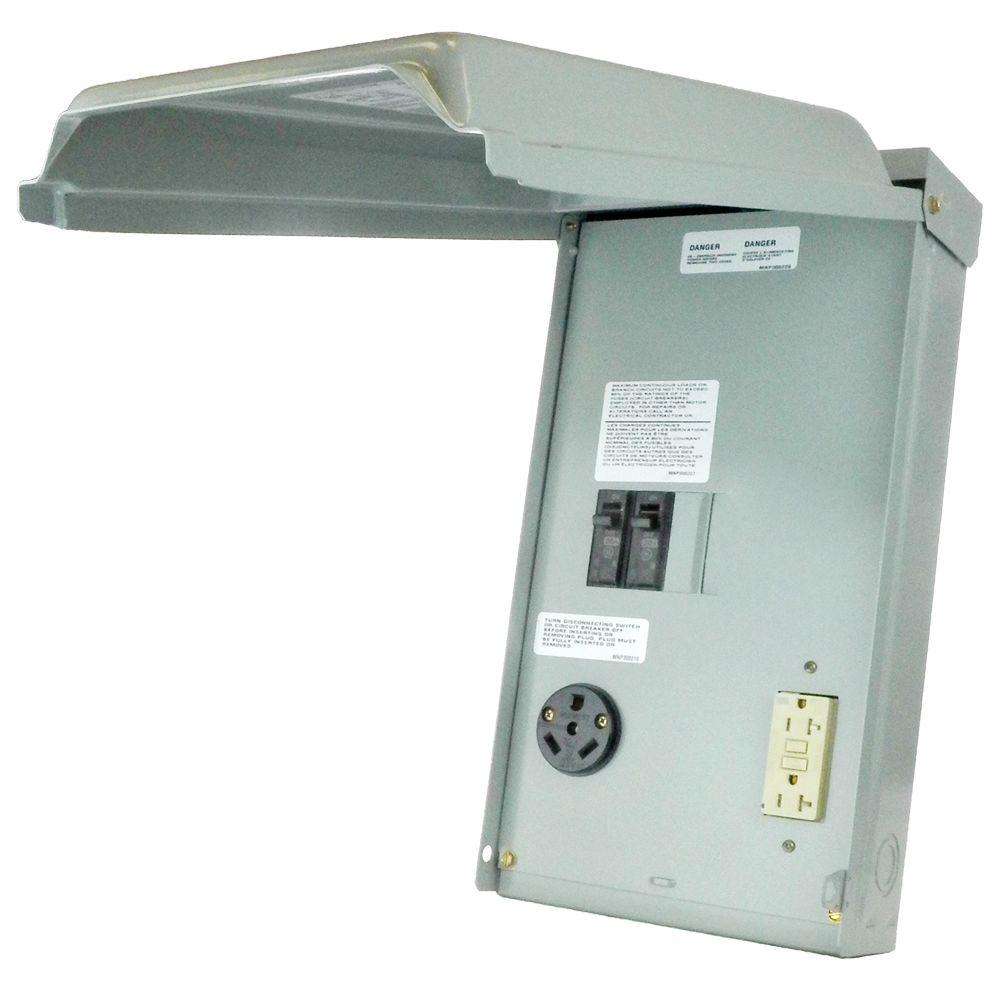 Rv Outlet Box With 50 30 20 Amp Gcfi Circuit Protected Receptacles