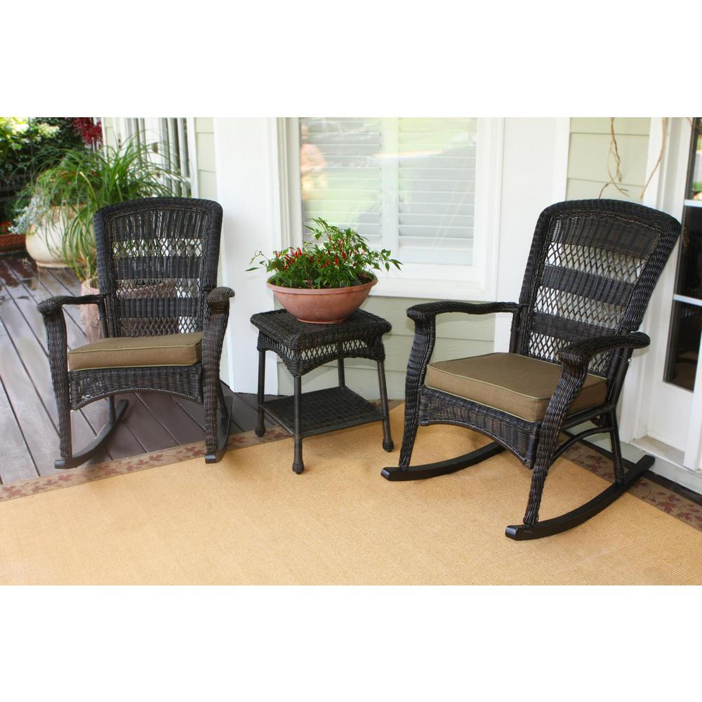Outdoor Rocking Chair Set Tortuga Outdoor Portside Plantation Dark Roast 3 Piece Wicker Outdoor Rocking Chair Set With Tan Cushion