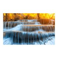 "Yosemite 36 in. x 60 in. ""Autumn Waterfall"" Tempered Glass ..."