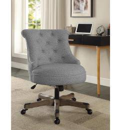 linon home decor sinclair light gray and white dots upholstered fabric with gray wood base office chair 178403ltgry01u the home depot [ 1000 x 1000 Pixel ]