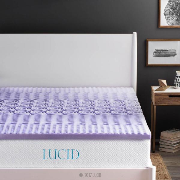 Lucid 2 In. Twin Xl Zoned Lavender Memory Foam Mattress Topper-lu20tx30zt - Home Depot