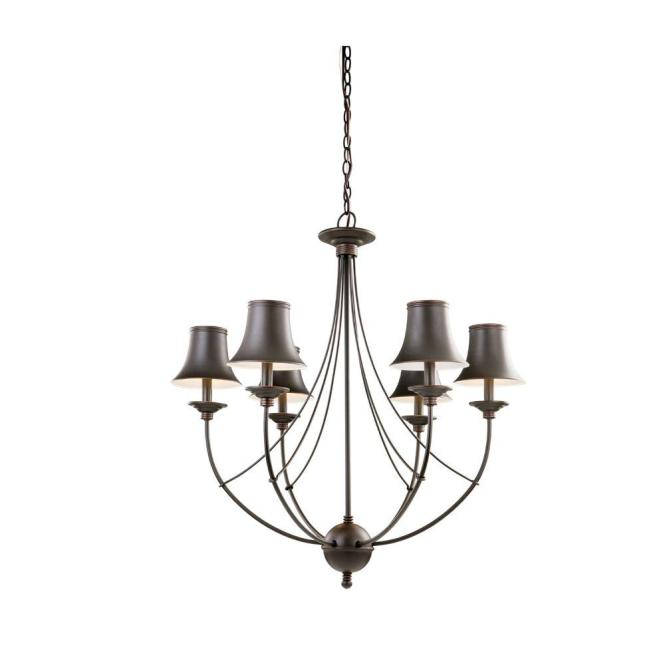 Hampton Bay Charleston 6 Light Oil Rubbed Bronze Chandelier With Shade Fnv0116a The Home Depot