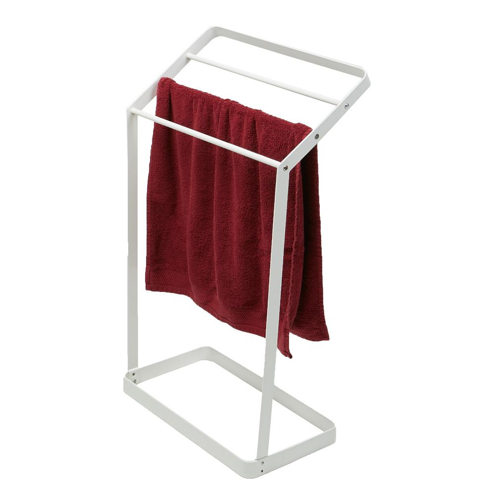 Bathroom Towel Stand Mind Reader 20 In W X 32 75 In H White Metal 3 Tier Bath Towel Bar Stand Alone Bathroom Rack Drying Stand