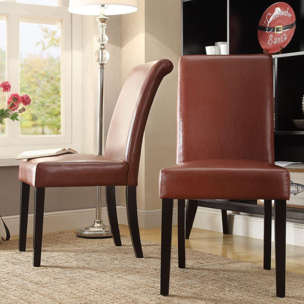 Red Leather Dining Room Chairs Fairfield Red Faux Leather Dining Chair Set Of 2