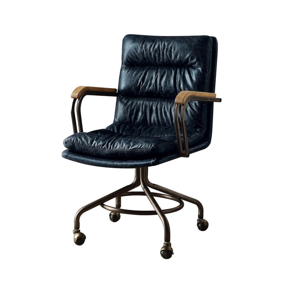 blue leather office chair eaton mid back acme furniture hedia vintage top grain