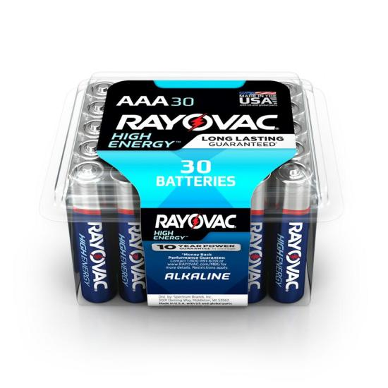 Rayovac High Energy Alkaline AAA/1.5 Volt Battery (30-Pack)
