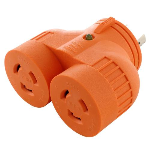 small resolution of industrial v duo outlet adapter l6 20p 20 amp 250 volt 3 prong locking plug to 2 l6 20r 20 amp connectors