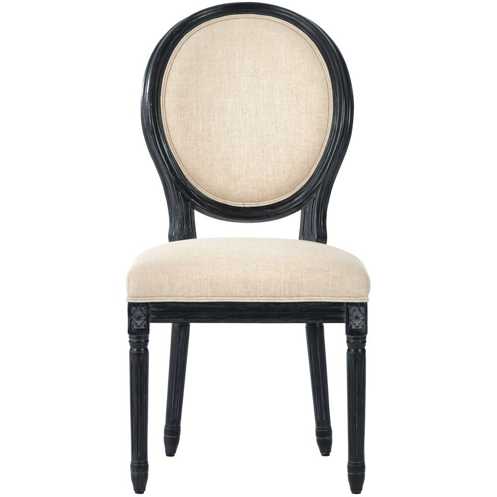 black side chair wooden bankers home decorators collection jacques antique natural linen round back dining set of 2