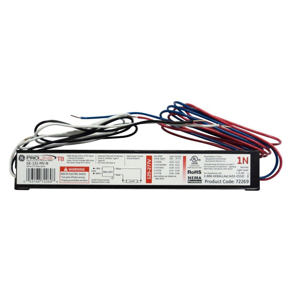 medium resolution of ge 120 to 277 volt electronic ballast for 4 ft 1 lamp t8