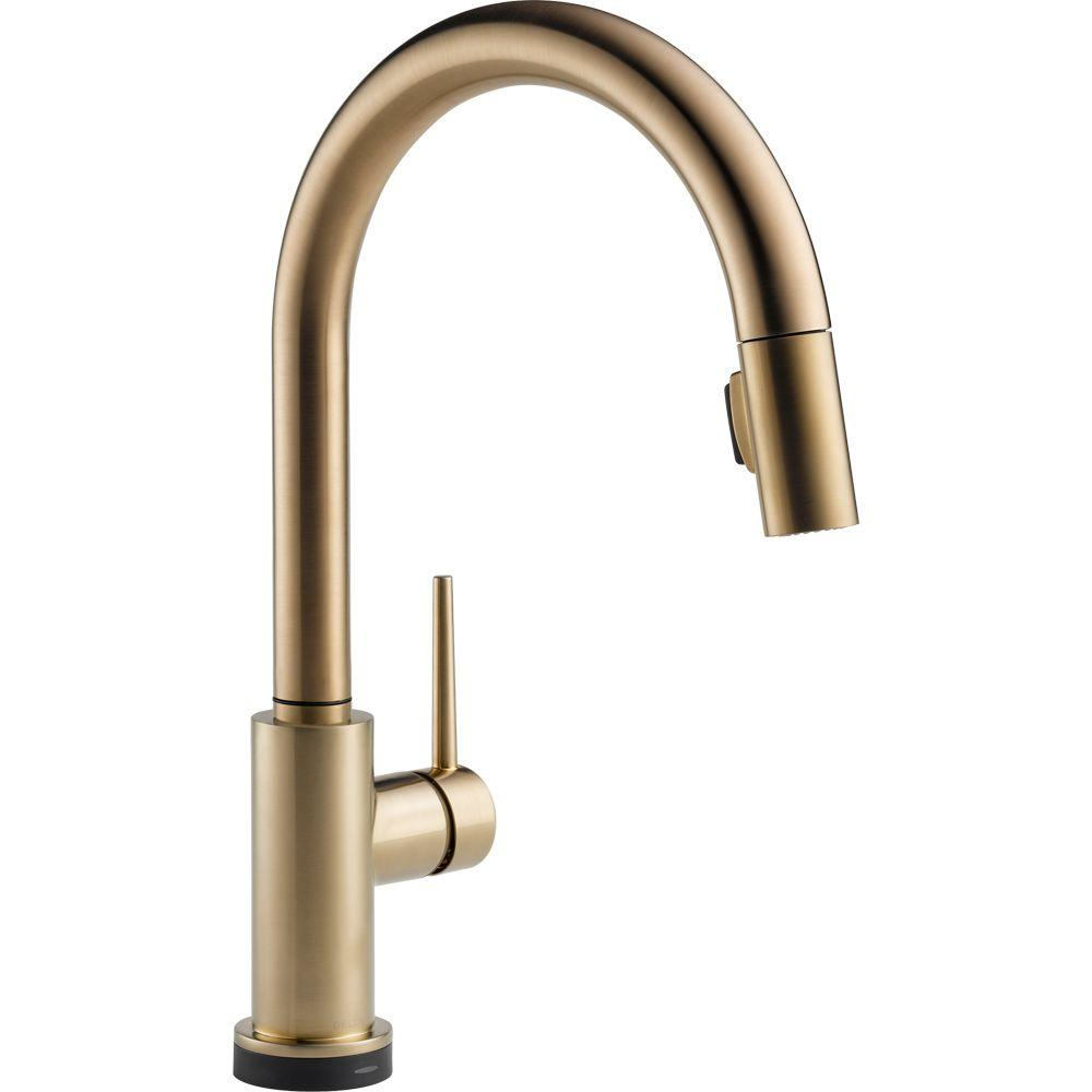 brass kitchen sink espresso cabinets delta faucets the home depot trinsic single handle pull down sprayer faucet