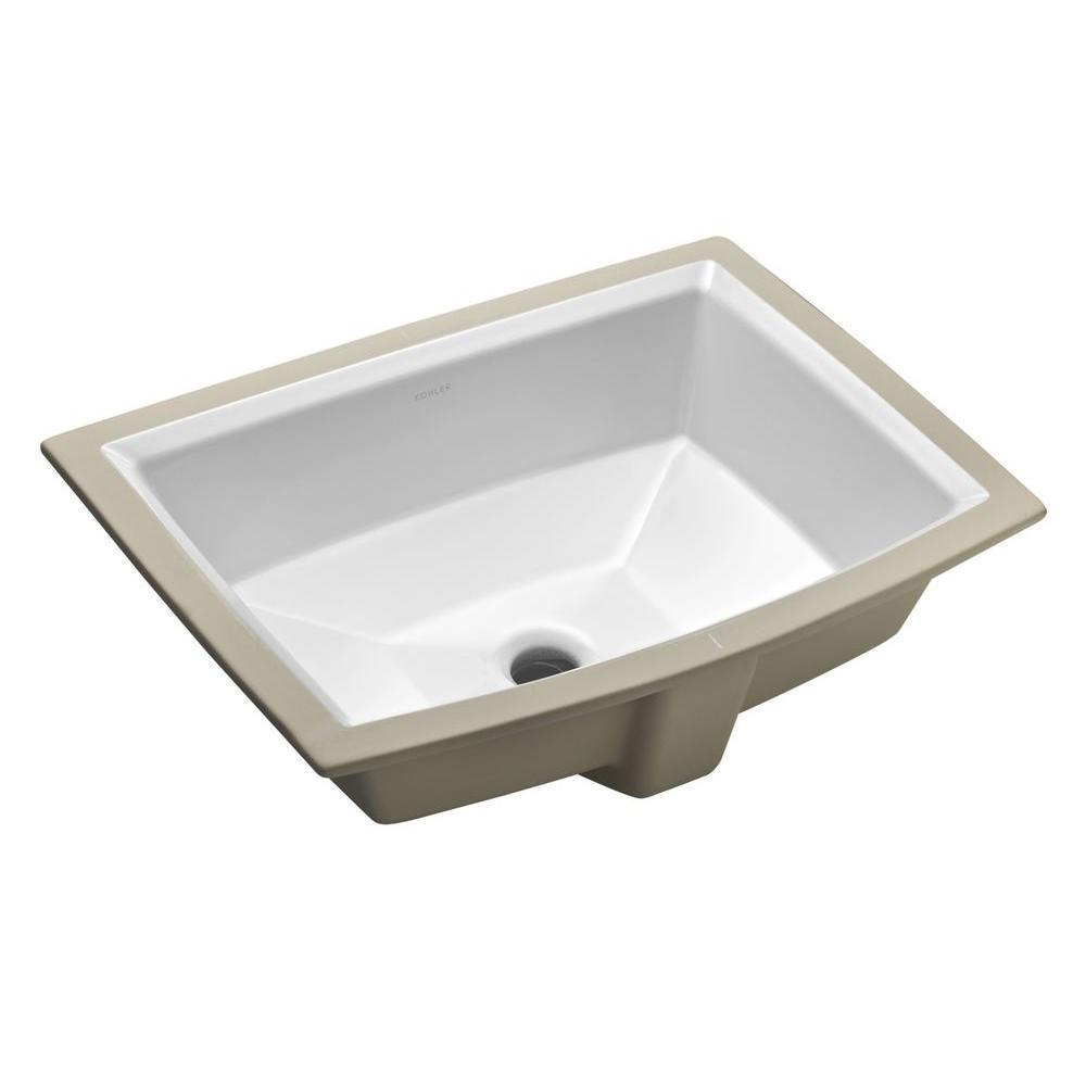 KOHLER Archer Vitreous China Undermount Bathroom Sink in