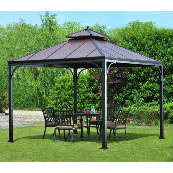 Hampton Bay Harper 10 Ft. X Steel Hardtop Gazebo-l-gz680pst- - Home Depot