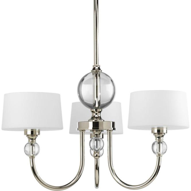 Fortune Collection 3 Light Polished Nickel Chandelier With Shade