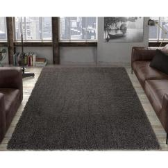 Grey Living Room Area Rugs Country Decor Ottomanson Contemporary Solid Dark 5 Ft X 7 Shag Rug