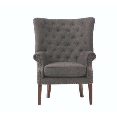 grey club chair child desk and set accent chairs the home depot ernest herringbone black polyester arm