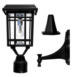 solar post light lantern wall mounting fitter outdoor non electrical wiring [ 1000 x 1000 Pixel ]