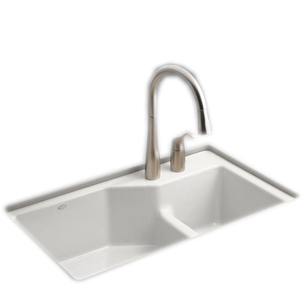 cast iron kitchen sinks terry cloth towels kohler indio smart divide undermount 33 in 2 hole double bowl sink kit white