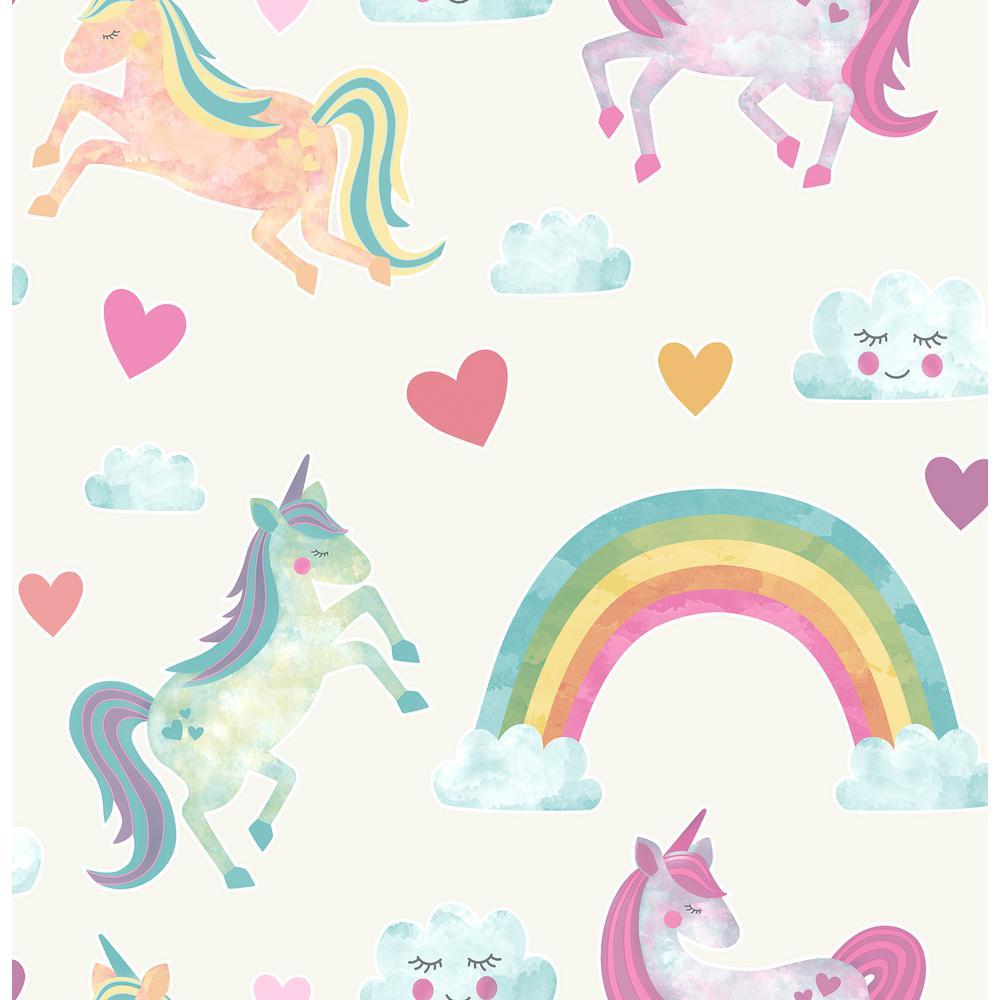 Wallpapers Of Cute Dolls For Desktop Brewster 56 4 Sq Ft Elora Cream Unicorn Wonderland