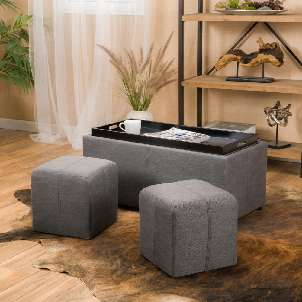 noble house drake gray fabric ottoman set of 3 7733 the home depot