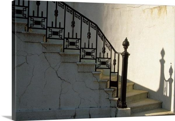Greatbigcanvas Wrought Iron Railing And Steps With Shadow Detail | Wrought Iron Handrail For Steps | Aluminum | Simple | Front Door Step | Forged Iron | Custom