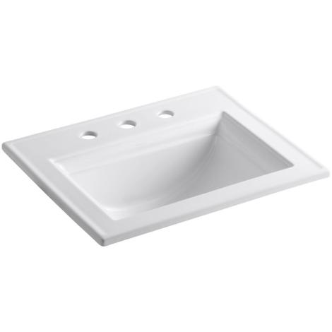 KOHLER Memoirs Stately Drop-In Vitreous China Bathroom Sink in White with Overflow Drain