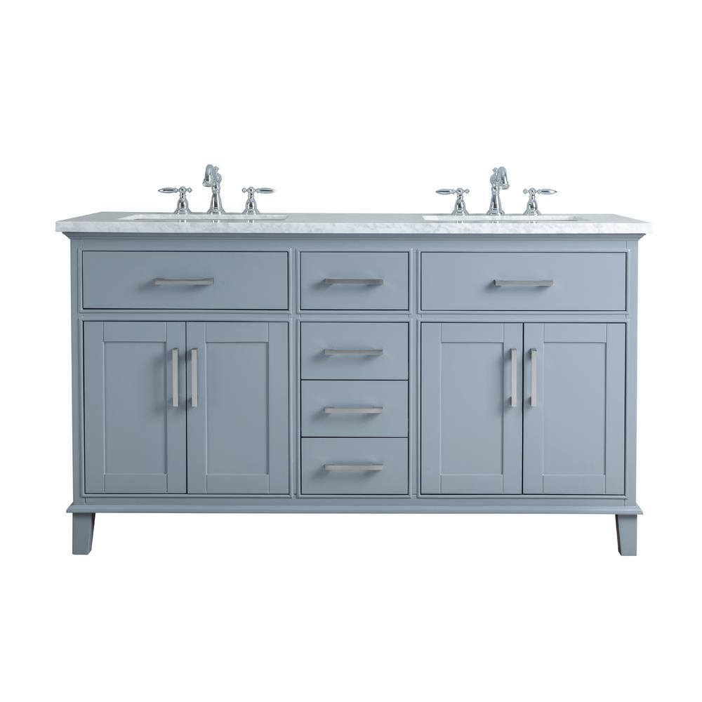 Bathroom Vanity Top With Sink Stufurhome 60 In Leigh Double Sink Bathroom Vanity In Grey With Carrara Marble Vanity Top In White With White Basin