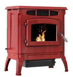 epa certified cast iron pellet stove red enameled [ 1000 x 1000 Pixel ]