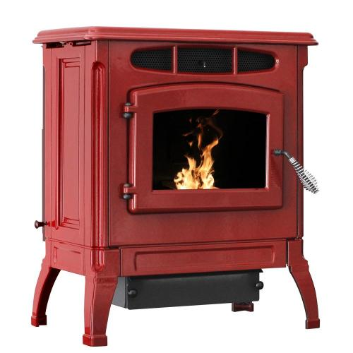 small resolution of epa certified cast iron pellet stove red enameled