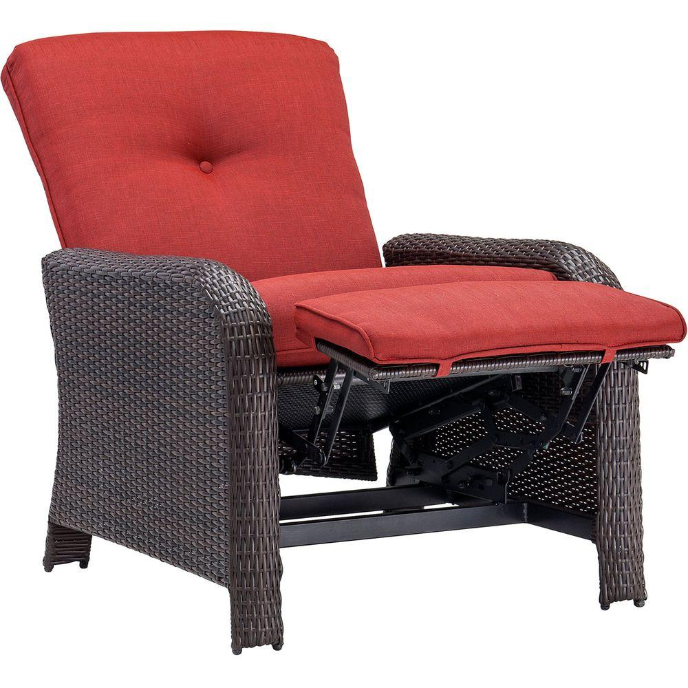 Red Patio Chairs Hanover Strathmere Crimson Red Outdoor Reclining Patio Arm Chair