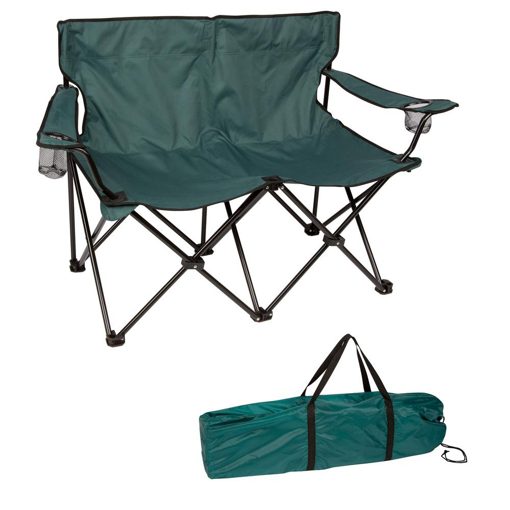 Double Camping Chair Trademark Innovations Dark Green 31 5 In H Loveseat Style Steel Frame Double Camp Chair