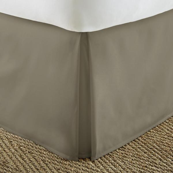 Becky Cameron Pleated Dust Ruffle Taupe Twin Performance Bed Skirt-ieh-bdsk-twin-ta - Home Depot