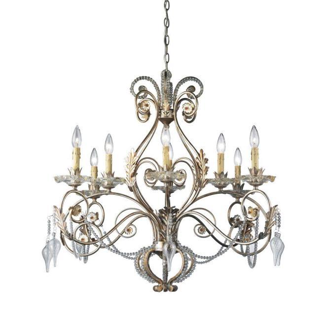 Hampton Bay Allure 8 Light Antique Silver Chandelier 14441 028 The Home Depot