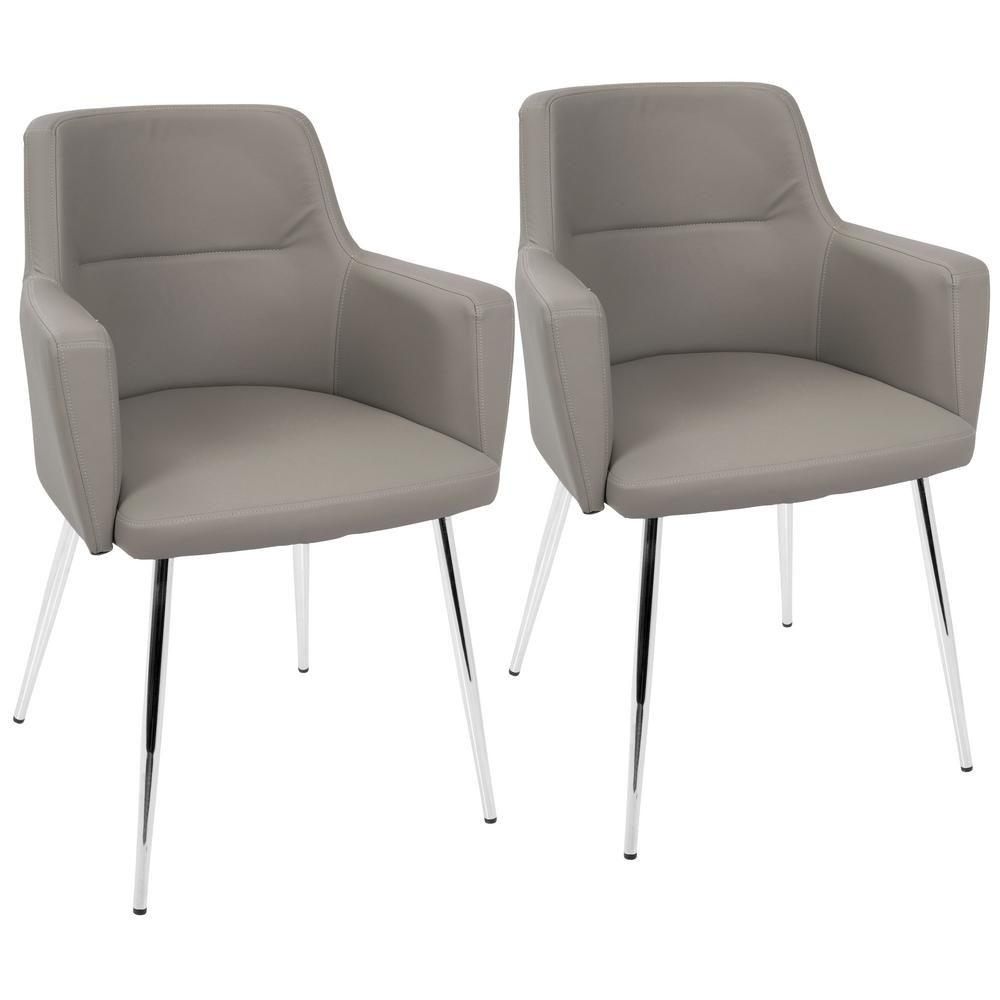 leather chrome chair eno hammock lumisource andrew contemporary grey and dining accent faux set of 2