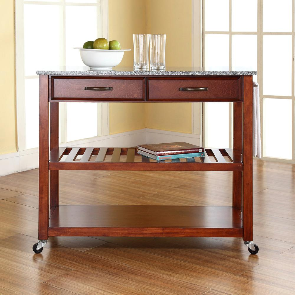 crosley kitchen cart rustic cabinet handles cherry with granite top kf30053ch the home depot