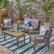 Noble House Peyton Gray 4-piece Wood Patio Conversation