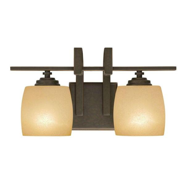 Hampton Bay 2-light Bronze Vanity Light With Scavo Glass