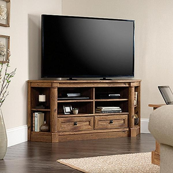 Sauder Palladia Collection Vintage Oak Corner Entertainment Credenza-420714 - Home Depot