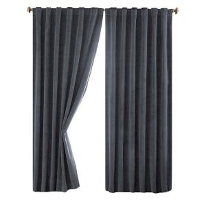 Absolute Zero Total Blackout Stone Blue Faux Velvet Curtain Panel 95 In Length 11718050X095STB