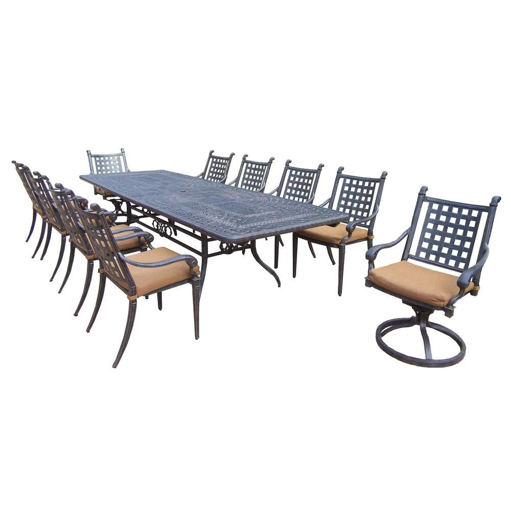 aluminum dining chairs target table and for american girl dolls oakland living extendable cast 11 piece rectangular patio set with sunbrella cushions