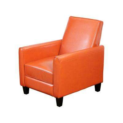 burnt orange leather living room furniture shelves for the chairs home depot darvis recliner club chair