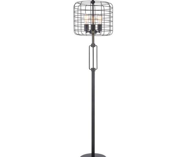 Black Industrial Cage Floor Lamp