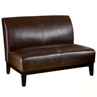 armless sofas high end manufacturers loveseats living room furniture the home depot darcy brown bonded leather loveseat