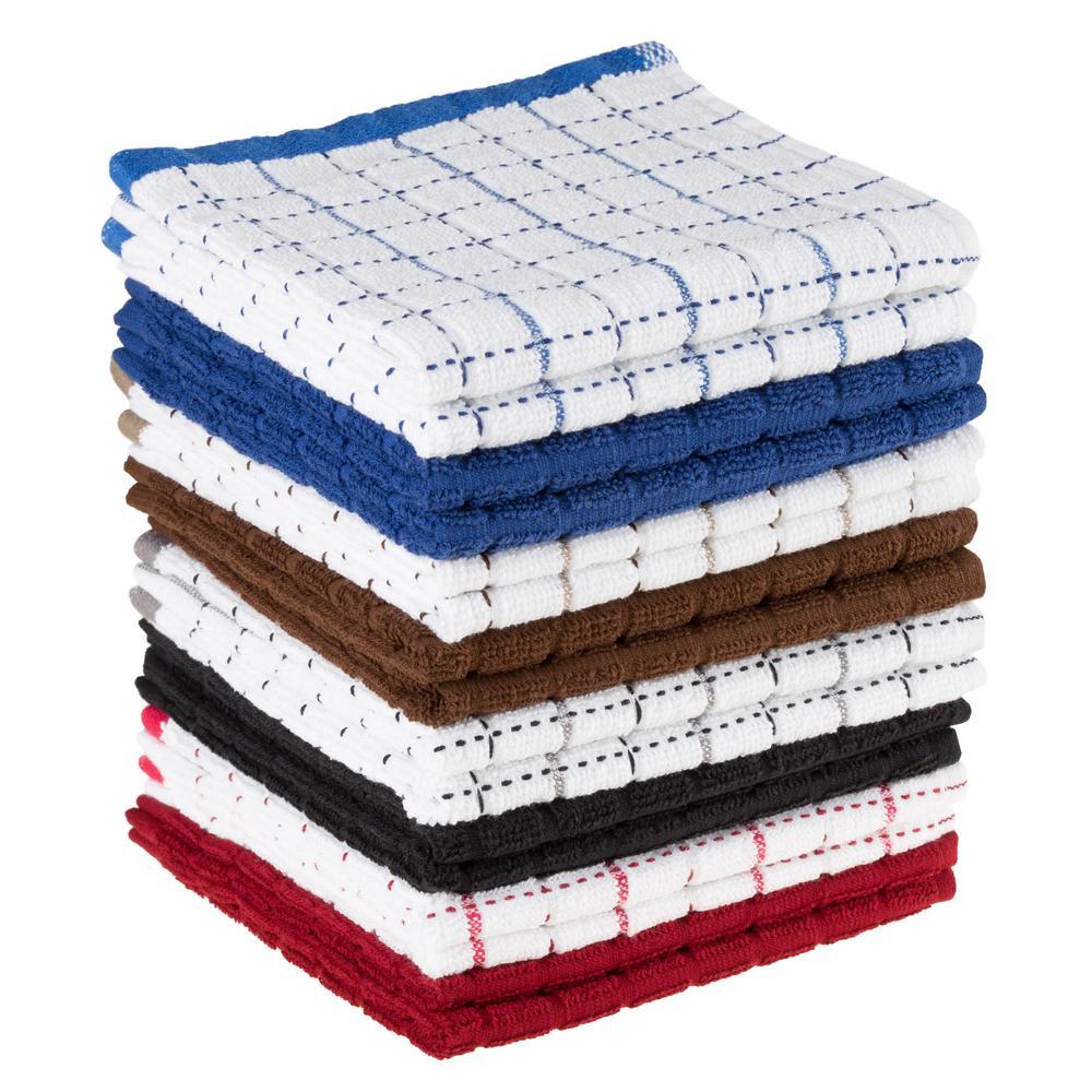 kitchen towels modern round table lavish home multi windowpane pattern cotton set of 16